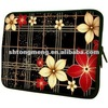 13 inch Red Flowers on Black Plaid Notebook Laptop Sleeve Bag Carrying Case