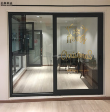 Powder Coated Aluminum Frame double leaf Commercial Sliding glass door with tempered glass Grill Design