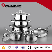 Professional 12pcs 304 stainless steel basic cooking set