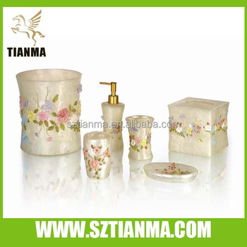 colorful flower theme resin fancy bathroom accessories set