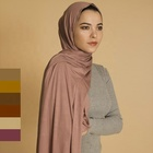 Hot basic design fashion cotton lycra hijab scarf shawls muslim hijab girl solid plain modal jersey hijabs