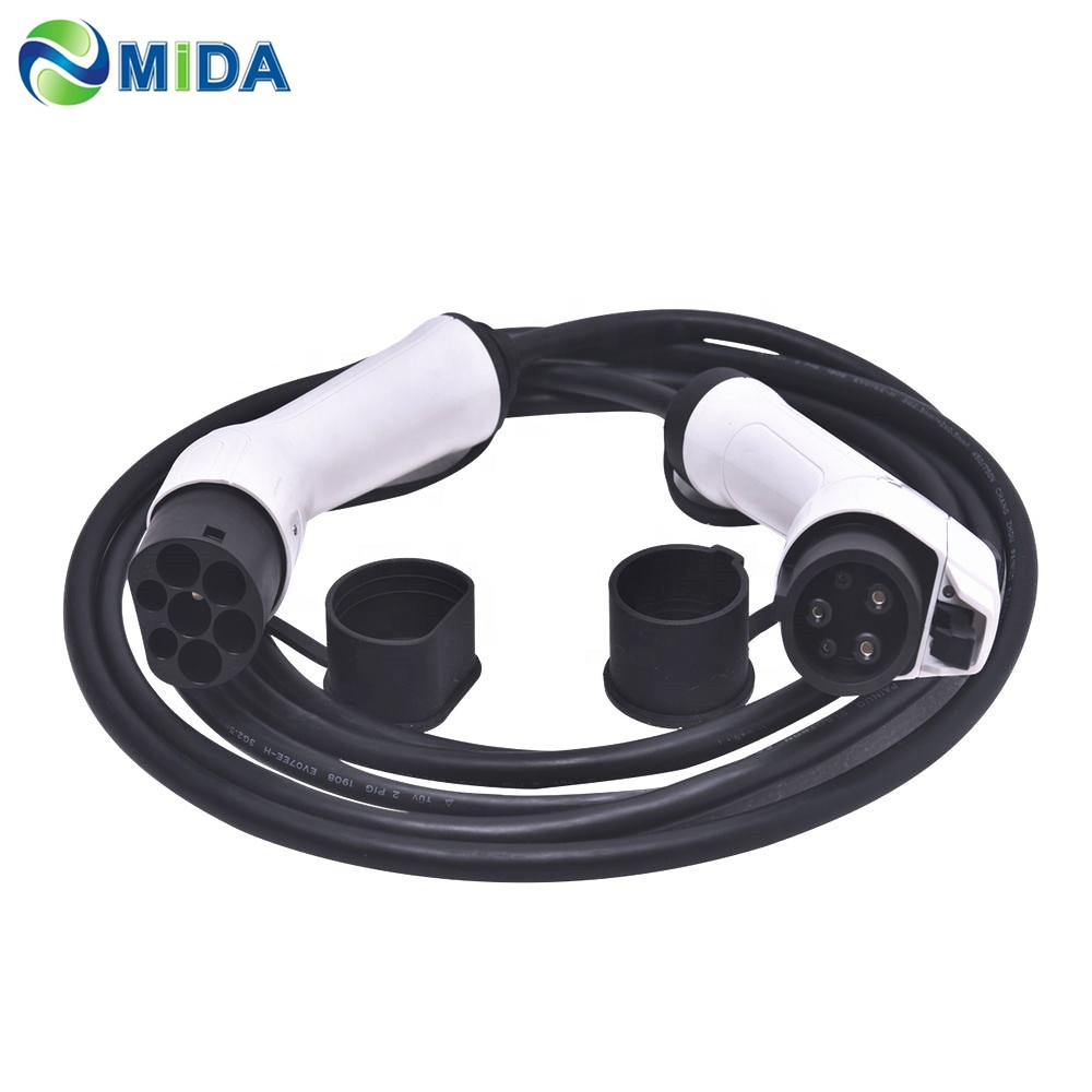 16A/32A SAE J1772 to IEC 62196-2 Type 1 to Type 2 EV Connector for Electric Vehicle EV Charging Station Car Charger EV Plug