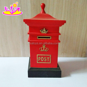 New design red postbox shape wooden coin bank for children saving money W02A263