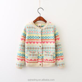 88c123500 Baby Girls Pockets Heart Jacquard African Cardigan Christmas Woolen ...