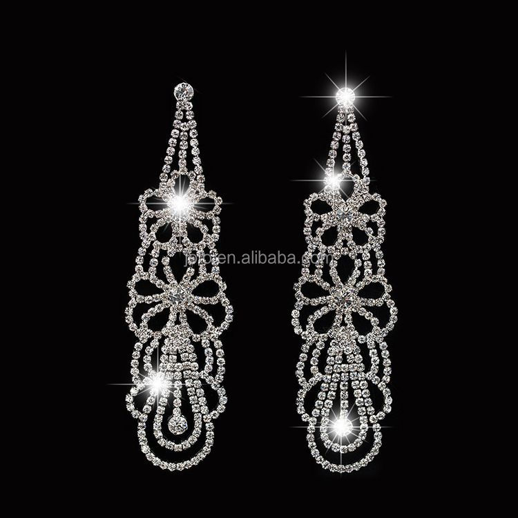 Jofo Brand High Quality Statement Long Crystal Evening Earrings