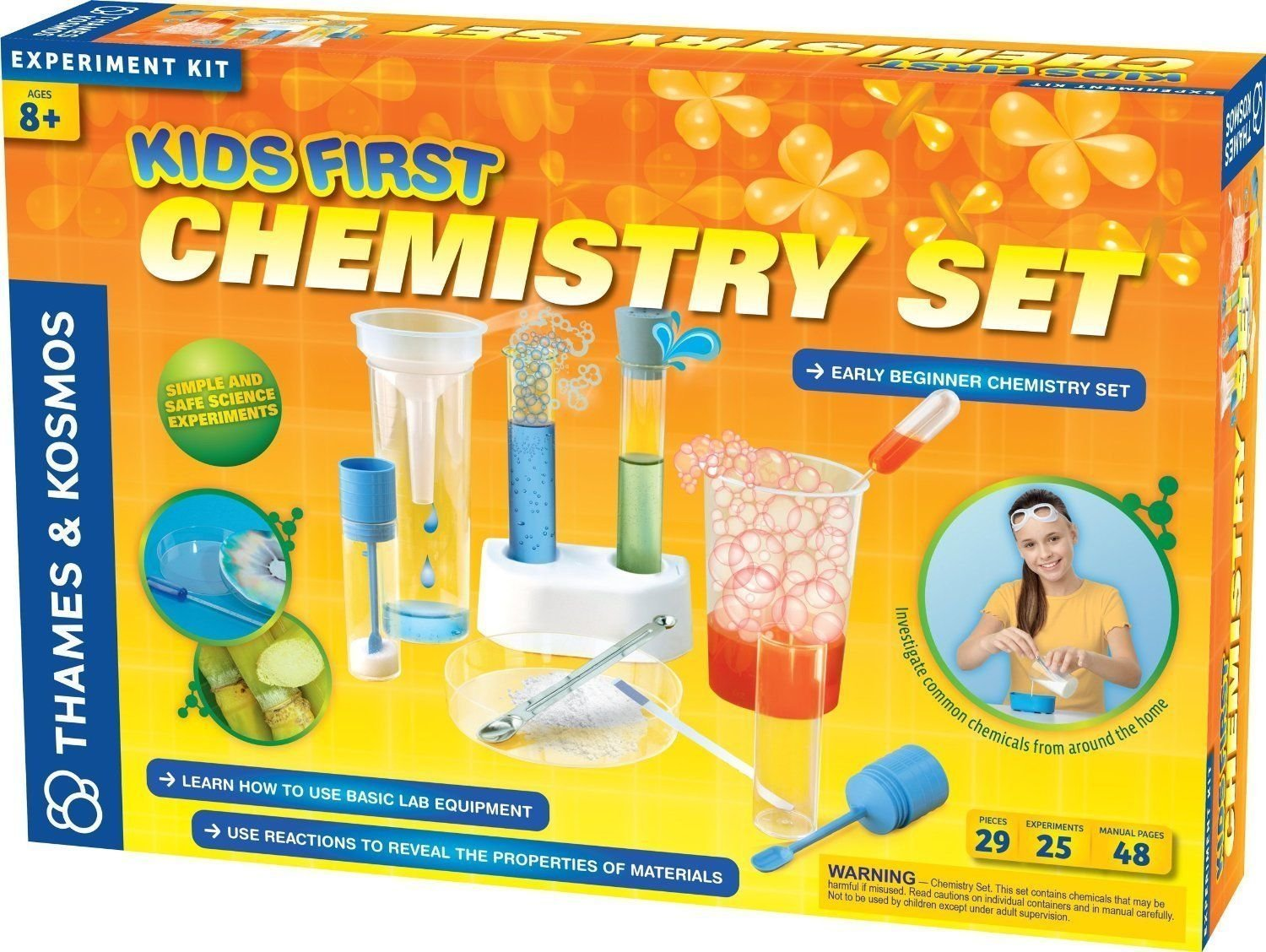 """Thames and Kosmos Kids First Chemistry Set Science Kit Conduct Experiments To Identify Different Chemicals - 16.8L"""" x 3.2W"""" x 11.5H"""" - Ages 8+ years"""
