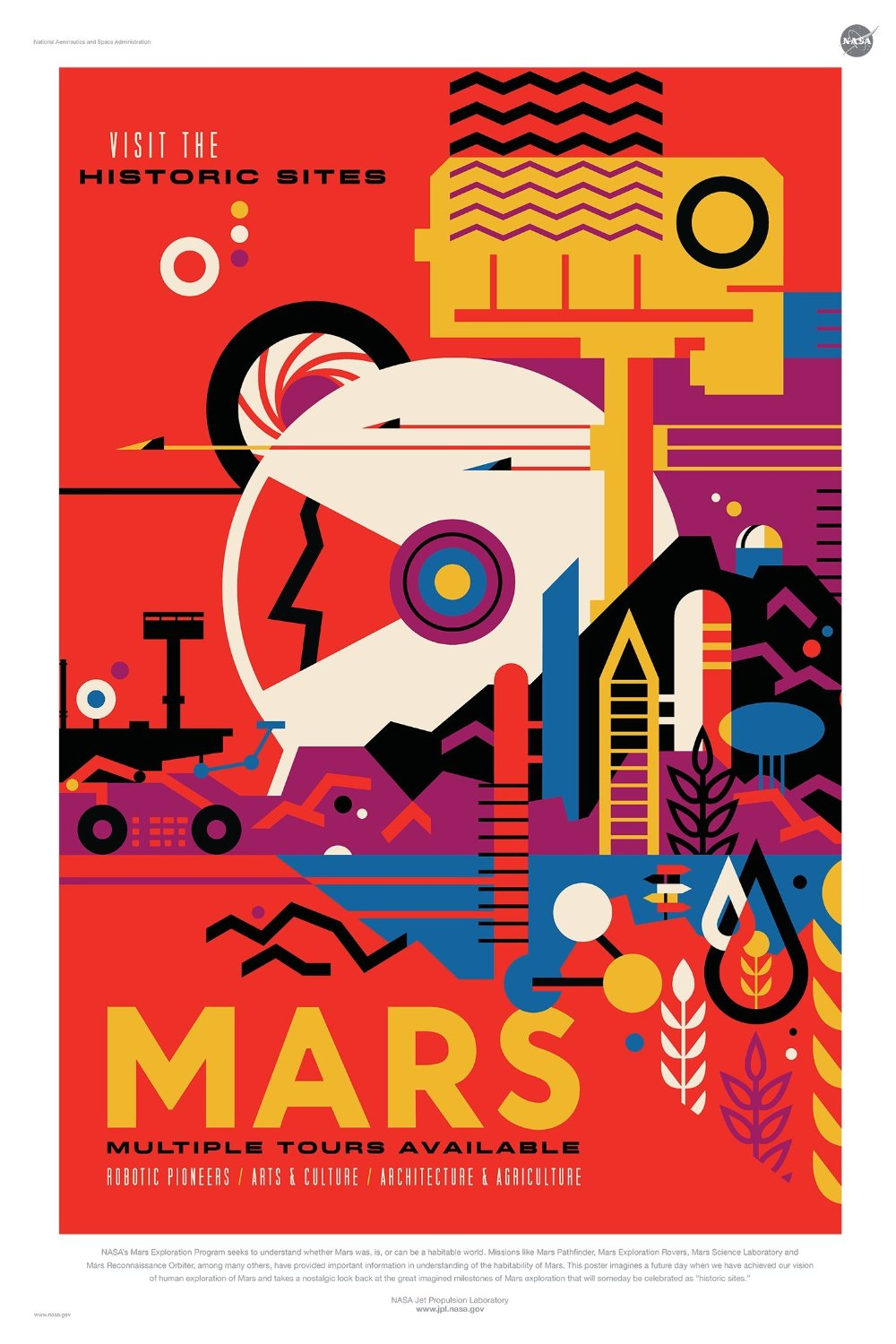 """Mars: Visit the Historic Sites - NASA JPL Space Tourism Travel Poster - Unframed (24"""" x 36"""") - Certified DigitalFusion CTI Printed in the U.S.A"""