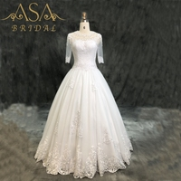 ASA019 3/4 Sleeves Simple style Ball Gown Lace with Beads Bridal Gowns Sexy Cheap African Wedding Dress