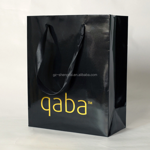 custom printed high quality logo gold foil glossy black paper bags le sac en papier with black satin ribbon rope