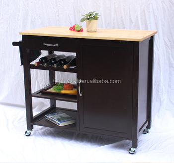 Mdf Kitchen Island Trolley Cart On Wheels With Storage Cabinet - Buy Mdf  Kitchen Island Trolley Cart,Kitchen Island Trolley,Kitchen Island Trolley  ...
