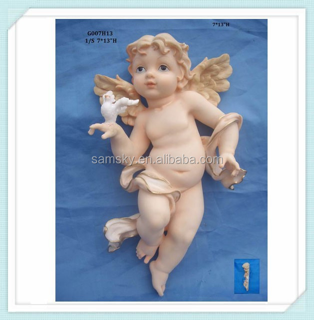 Catholic Religious decorations of resin13'' baby angel with a bird