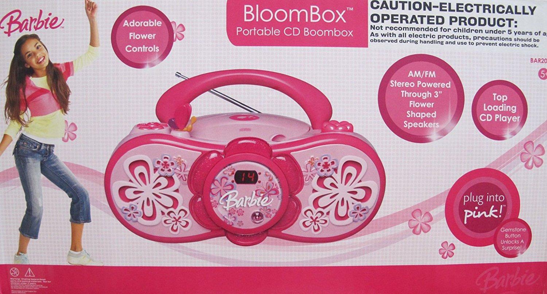 BARBIE Bloombox PORTABLE CD BOOMBOX w AM/FM STEREO Radio (2007)