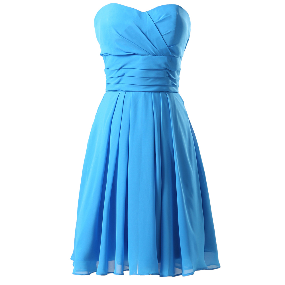Grace Karin Prom Dress Short Vestidos De Festa Chiffon Blue Evening Prom Party Dresses Strapless Vestidos De Formatura CL6053