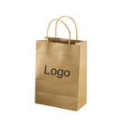 Wine use Twisted Handle Brown Kraft Paper Bag with Curved Edge for for shopping