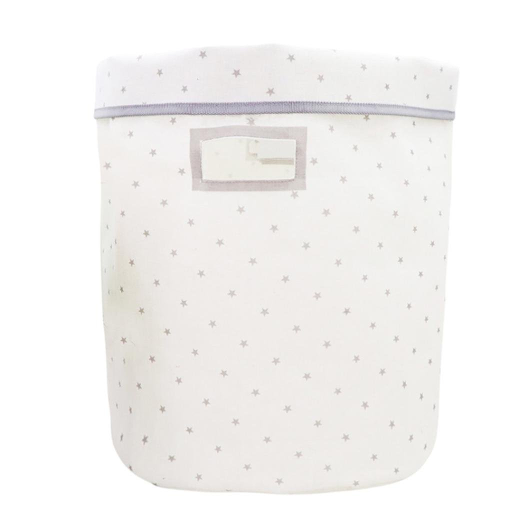 SUKEQ Waterproof Foldable Laundry Hamper, Star Printed Canvas Dirty Clothes Basket, Durable Round Cotton Linen Storage Box (White)