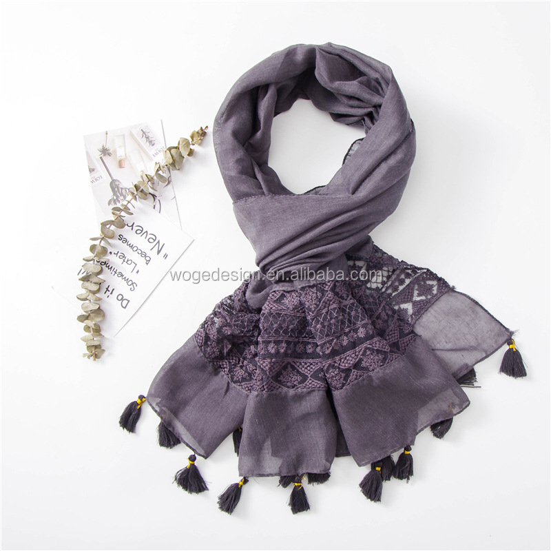 Hot sale yiwu factory Malaysia women's wraps hijabs headwears covers tie dye shimmer fringes lace viscose cotton scarves