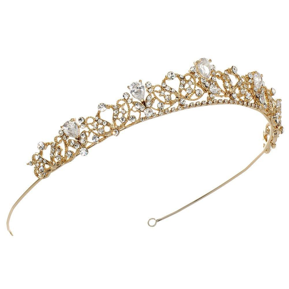 USABride Petite Swirling Rhinestone Crown, Gold-Tone Royalty Bridal Tiara 3174-G