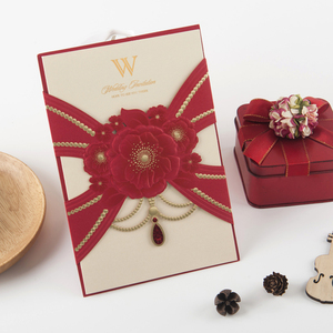Simple Design Red Wedding Invitations Laser Cut Invitation Cards Wedding