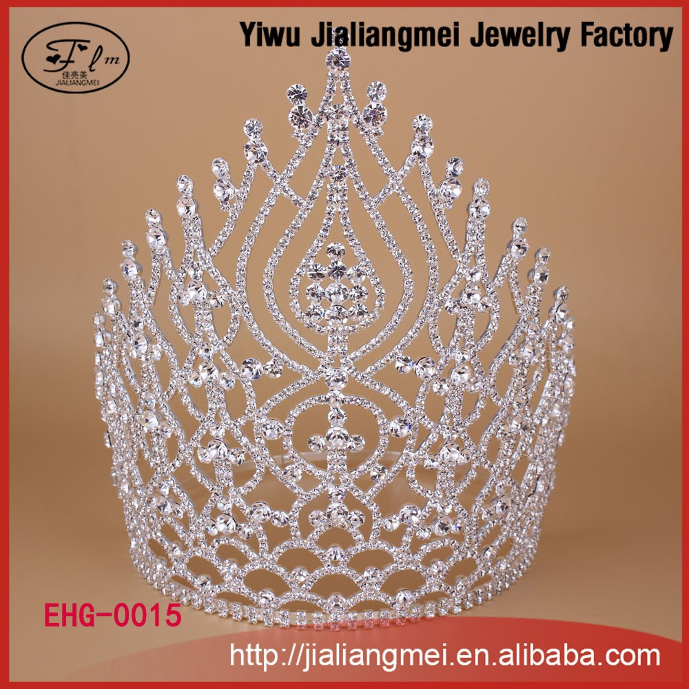 2015 China Supplier Cheap Large Tall Miss Beauty Pageant Tiara Crown