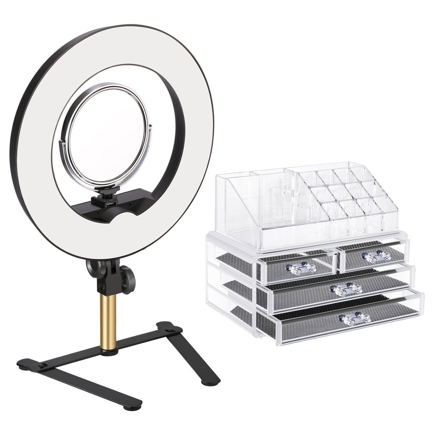 Neewer Tabletop Ring Light Makeup Kit: 14-inch Outer Dimmable LED Ring Light with 6-inch 2-Side Mirror,Desktop Support Stand,Cosmetic Storage Display Box for Beauty Portrait Video Shooting(US/EU Plug)