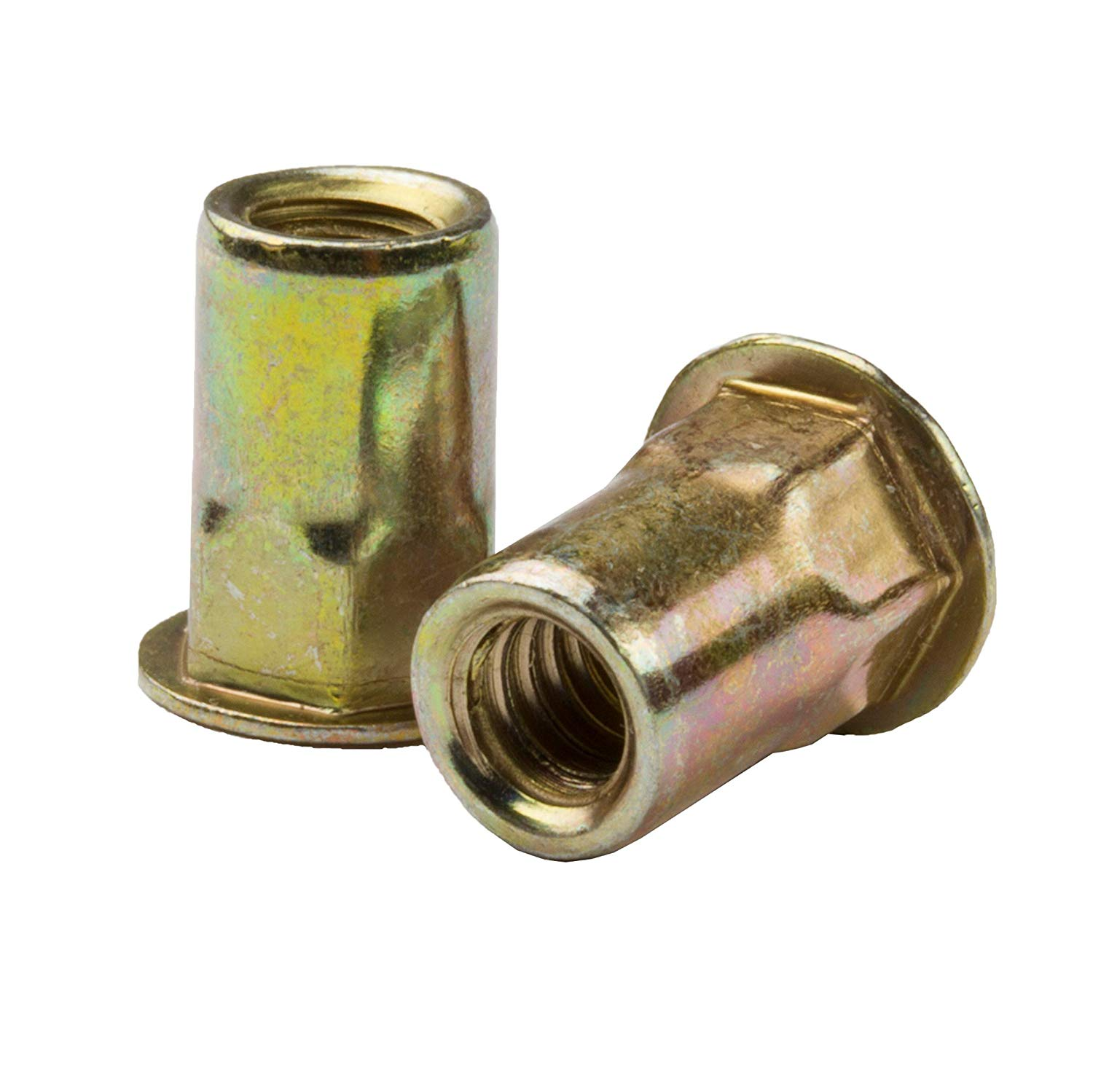 AEHS8-8125-3.8, RIVETNUT, M8x1.25 (0.70-3.81mm GR) Semi-Hex Body, Low PRO HD, Steel, Zinc YLW (100 PK)