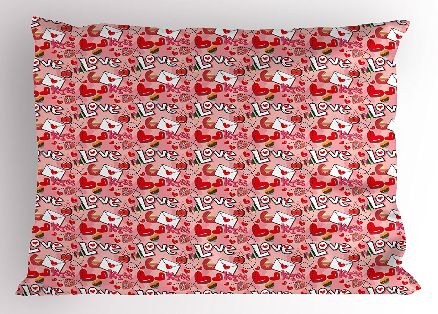 Ambesonne Love Pillow Sham, Crazy Love Theme Valentine's Hearts and Kisses Envelopes Letters Girls Cartoon Pattern, Decorative Standard King Size Printed Pillowcase, 36 X 20 Inches, Multicolor