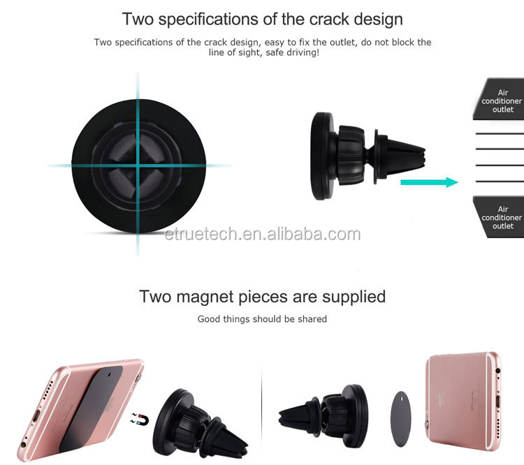 Air vent car mobile phone holder; one touch 360 degree magnetic car phone holder for iphone samsung smartphone