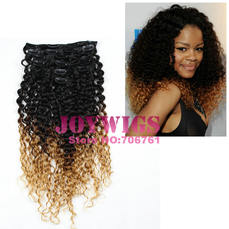 Ombre Color Blond Tip 100 Virgin Brazilian Hair Afro Kinky Curly