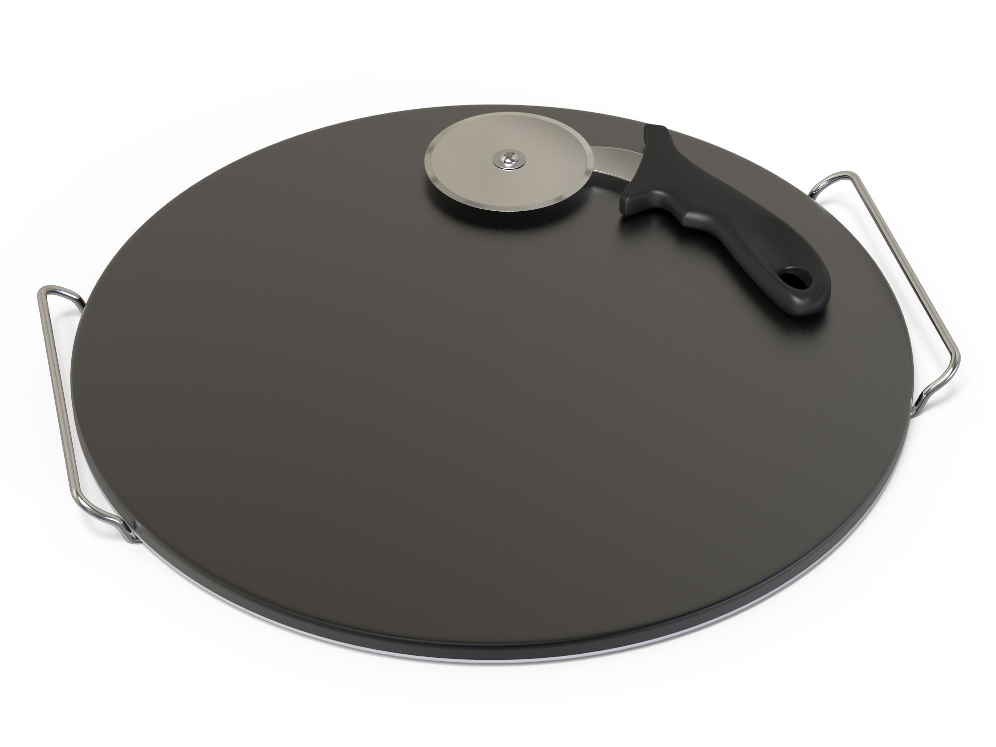 Durable Cordierite Pizza Stone Set — Baking Stones for Cooking, Grilling and BBQ — 15 inch Outdoor Round Glazed and Extra Thick Stone Pizza Kits With Free Pizza Slice Cutter and Iron Serving Rack