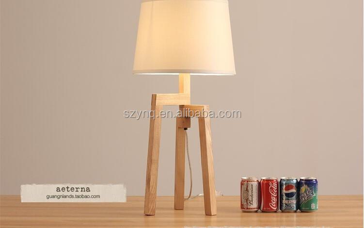 Moderne houten staande lampen stof lampenkap rode koord houten