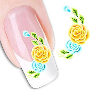 Nicedeco - 1pack New Products Nail Tattoo Sticker Flowers Nail Design Manicure Decals Nail Art Water Nail Art Decal / Tattoo / Sticker Colorful Nail Stickers Nail Art for Girls BE110
