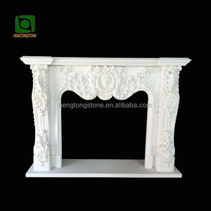 Stone Carving White Marble Fireplace Mantel with lady head and flowers
