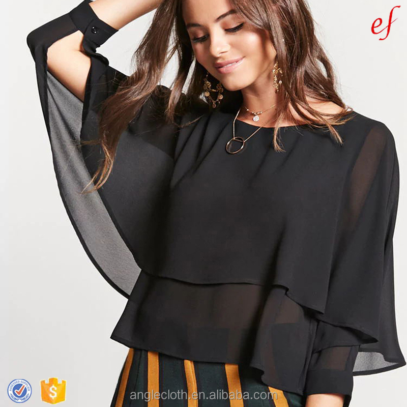 A sheer crepe woven ladies chiffon blouses and tops