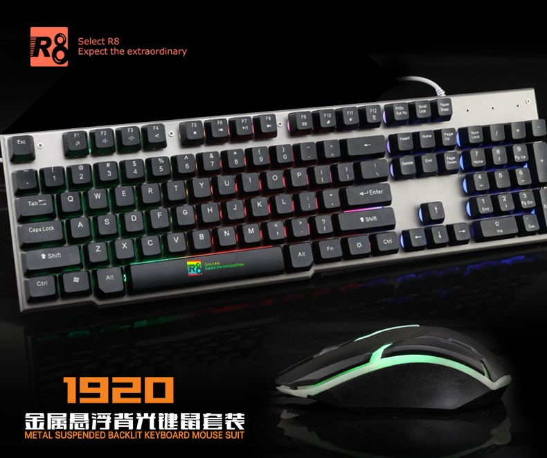 a479521ca86 R8 Game Keyboard and Mouse Combo,USB Wired LED Backlit Keyboard and Mouse  Set-