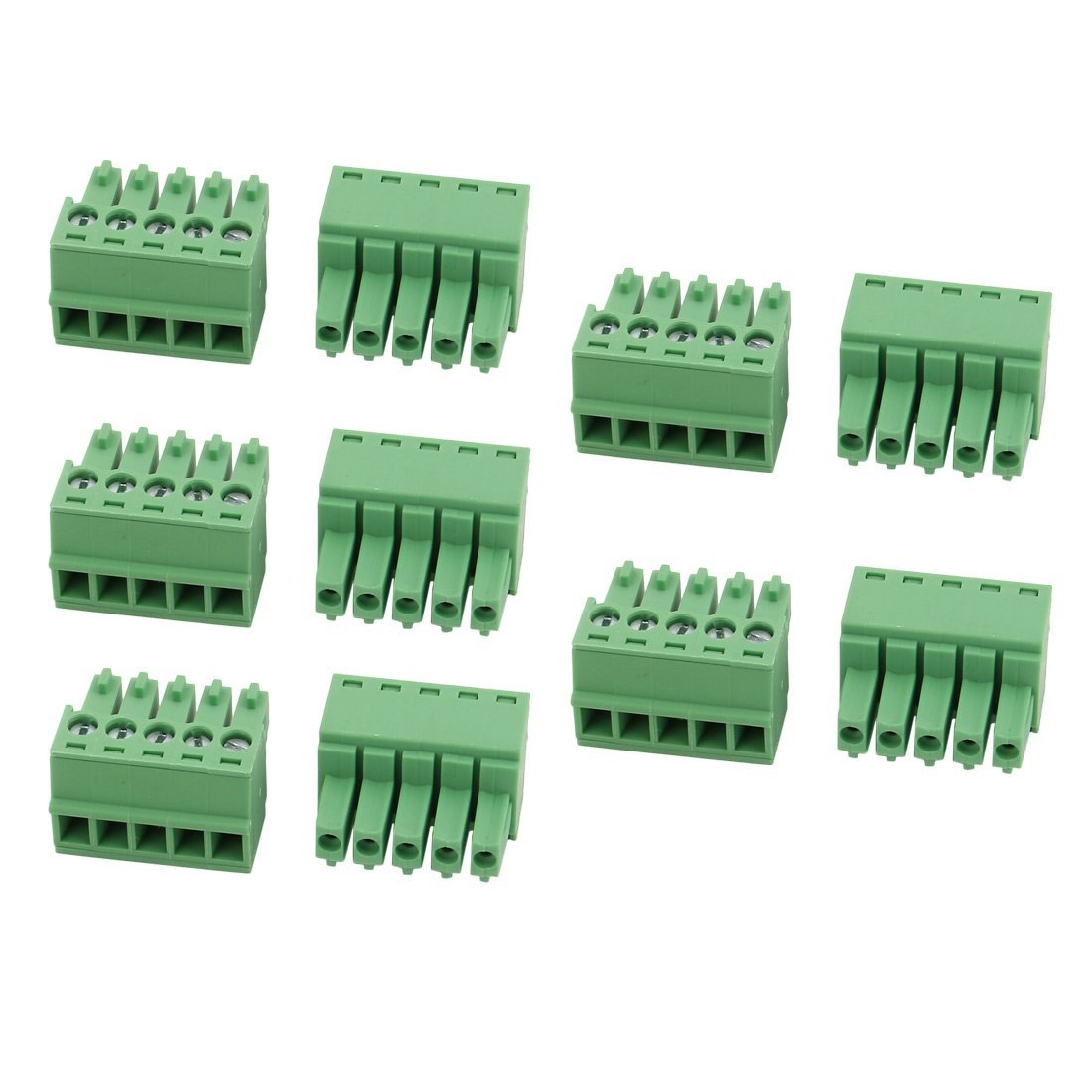 uxcell 10Pcs LC1 AC300V 8A 3.5mm Pitch 5P PCB Terminal Block Wire Connection