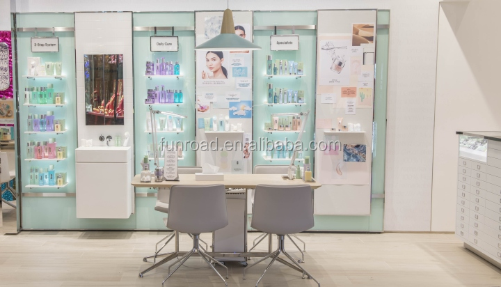 Customized wooden display shelf and cabinet with LED lights and acrylic stand for cosmetics shop