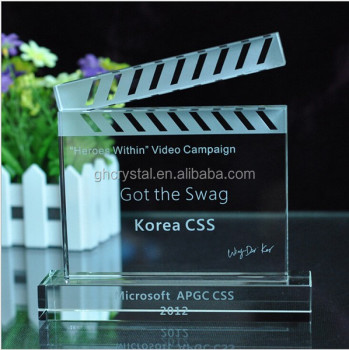 New Design Crystal Trophy Hollywood Movie Stars Award K9 Crystal Clapperboard Award & Movies K9 Trophy