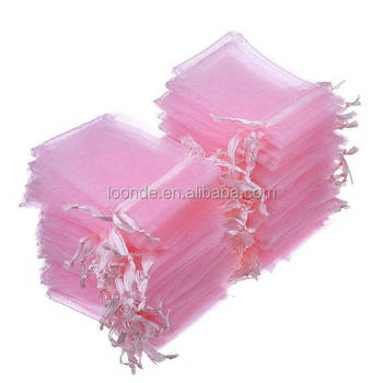 50 Pink Organza Bags 5x7 Inch Sheer Fabric Wedding Favor Bags With Drawstring Sheer Jewelry Bags with logo