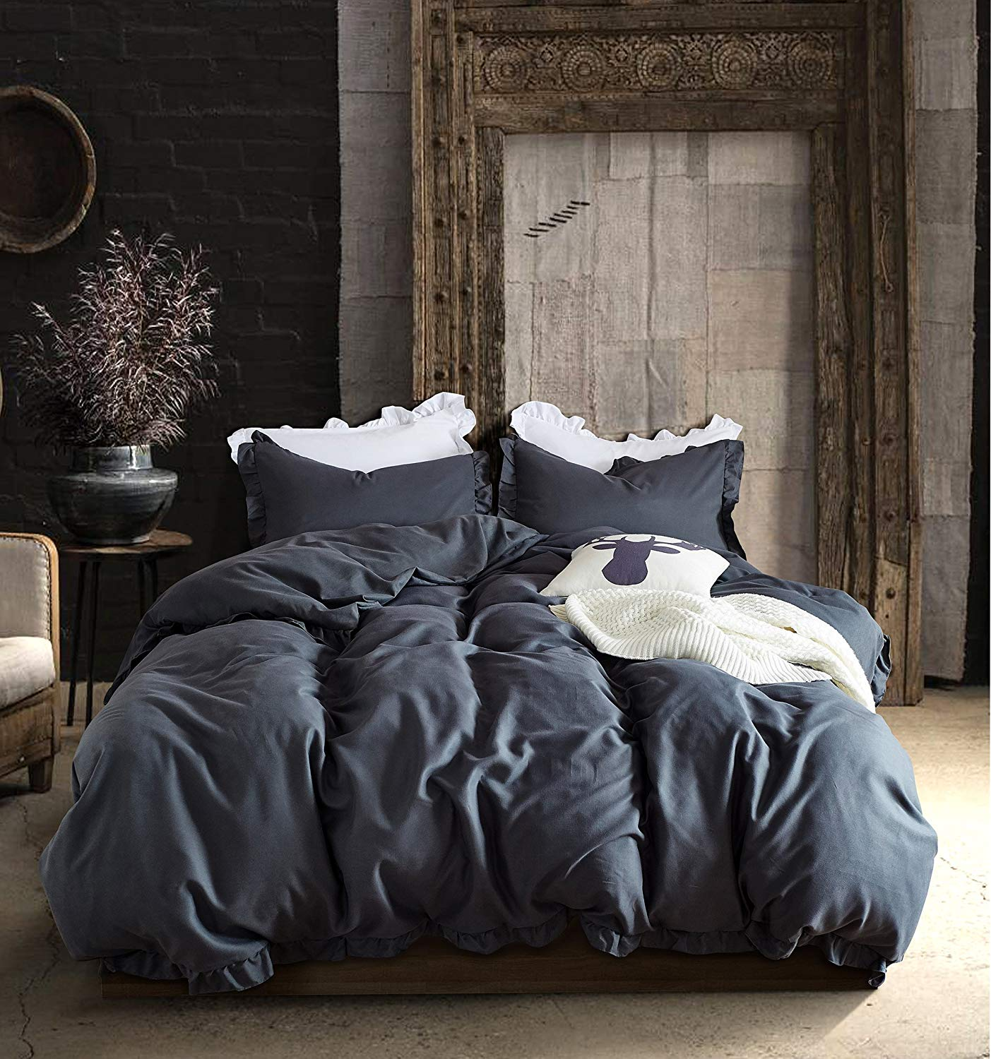 WAFTING King Duvet Cover Set with 2 Pillowcase and 1 Duvet Cover,Exquisite Ruffles Style for Adults Kids Bedding by, Dark Grey Microfiber Polyester - Hypoallergenic - without Comforter