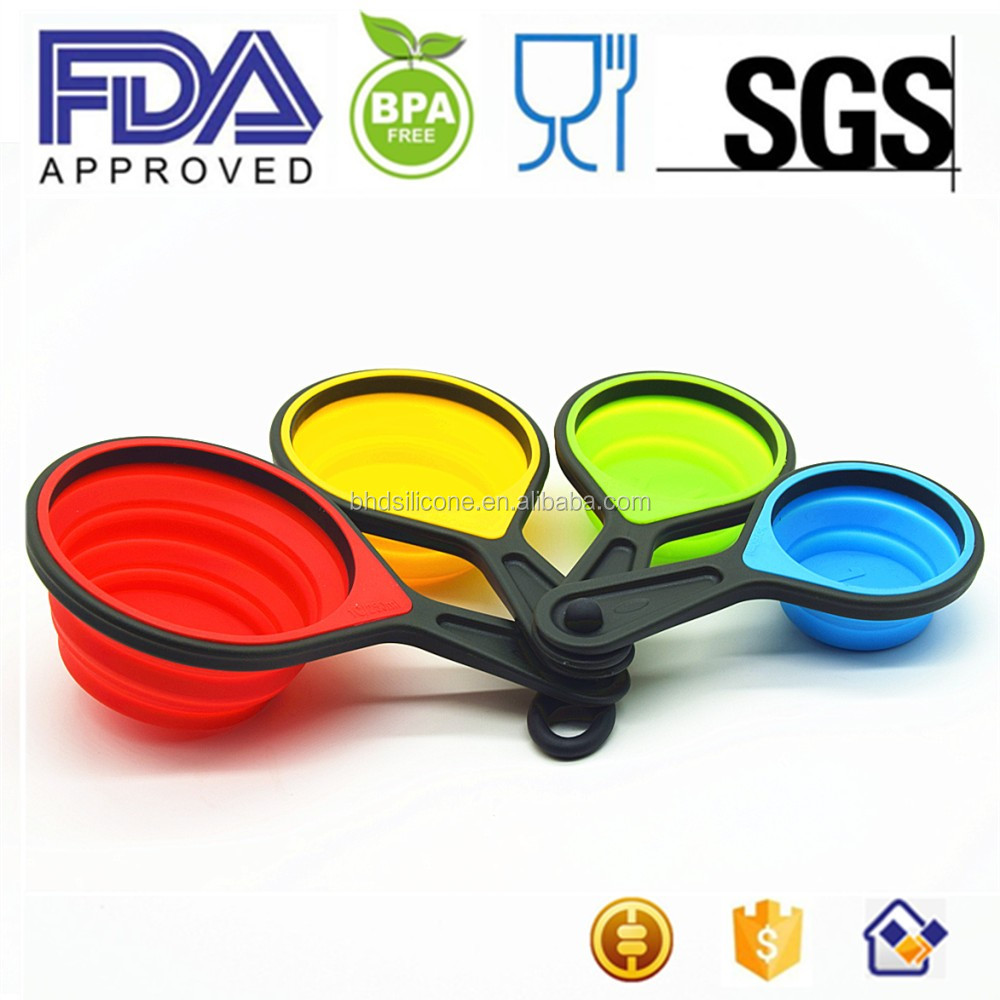 Amazing Amazon Hot Sell Cute Shapes Various Colors Silicone Collapsible Measuring  Cup