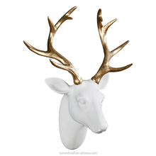 Custom 3D Gloden antlers white deer head resin wall art