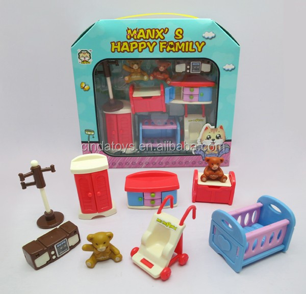 girl gift bedroom furniture set plastic doll house kit toys for sale