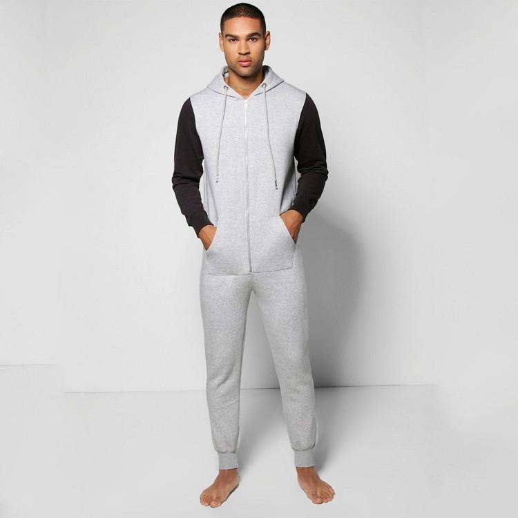 4d6b947be417 Plain Grey Men Onesie Pajamas With Black Sleeves Custom Made - Buy ...