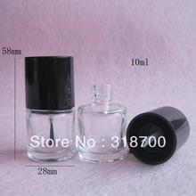 200pcs/lot 10ml Empty Nail polish Bottle/Transparent nail enamel bottle with UV cap,10cc nail glass bottle