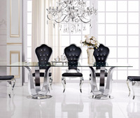 hot wholesale modern designed 12 seater glass dining table