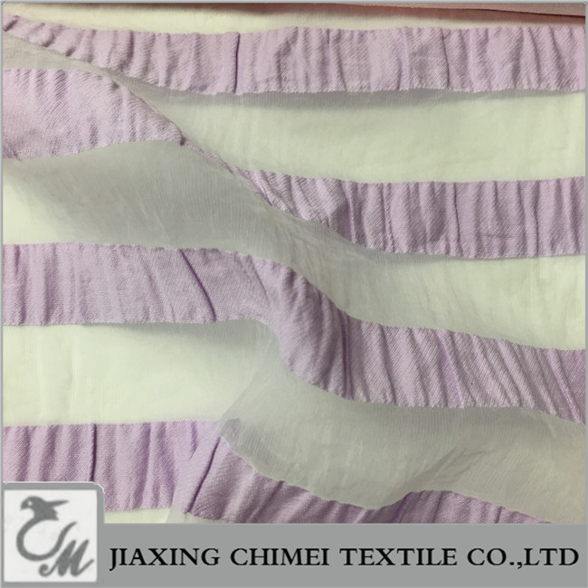 violet ruffled stripes organza fabric