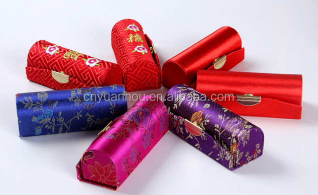 Wholesale 12pcs Mix Colors Brocade Lipstick Case with Mirror Jewelry Box
