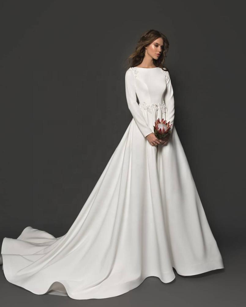 Robe de mariée modeste en Satin à manches longues avec détails perlés robe de mariée ligne a Simple 2019 nouvelle robe de mariage