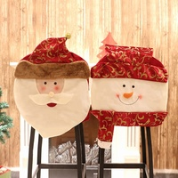 New Year 1pc Christmas Dinner Chair Back Cover Santa Snowman Cover for Chair Decoration Party DIY Christmas Ornaments Supplies