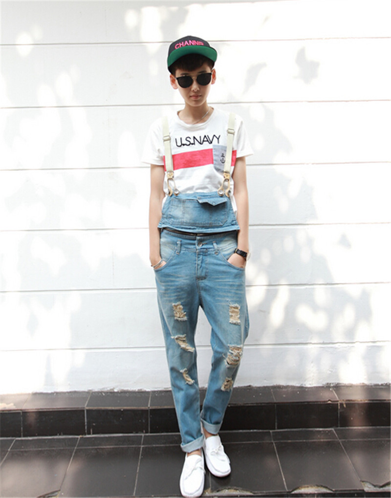 9993f3f5c9ee Buy Men Overalls Denim Fabric Bib Jeans 2015 New Fashion For Men Fashion  Cool Hole Decoration Skinny Leg Ripped Jeans For Men in Cheap Price on  m.alibaba. ...